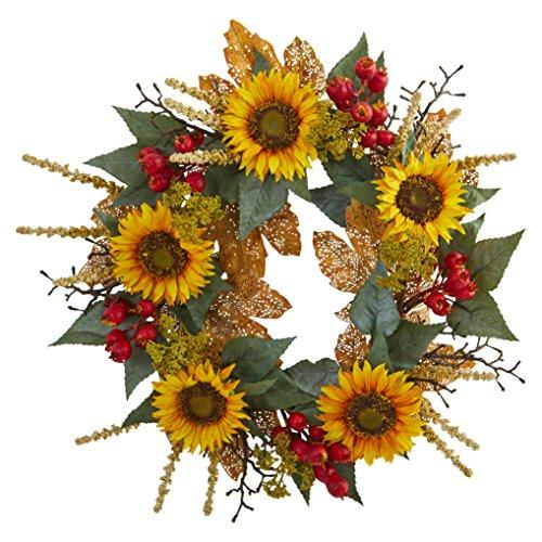 27 In. Sunflower Berry Artificial Wreath