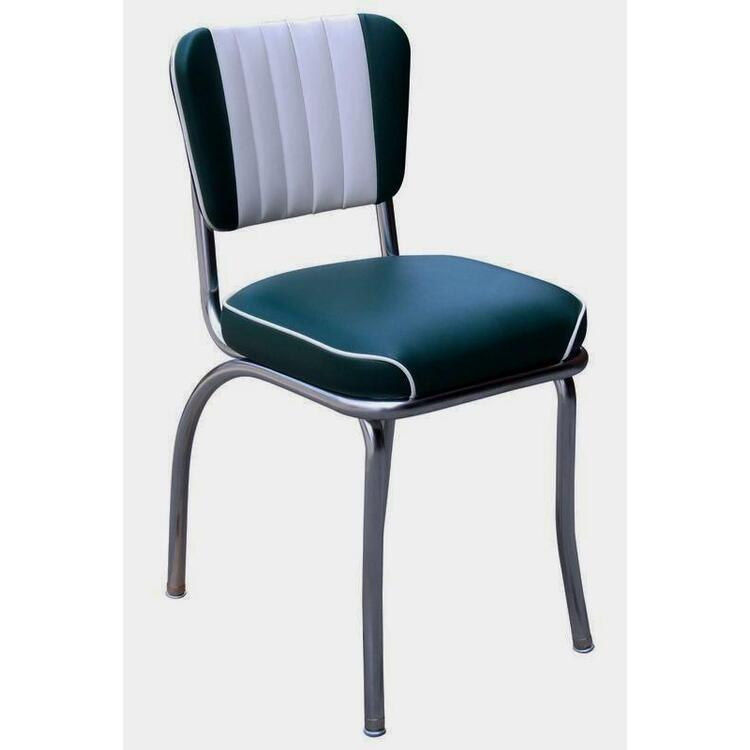 Dual Tone Channel Back Diner Chair with 2