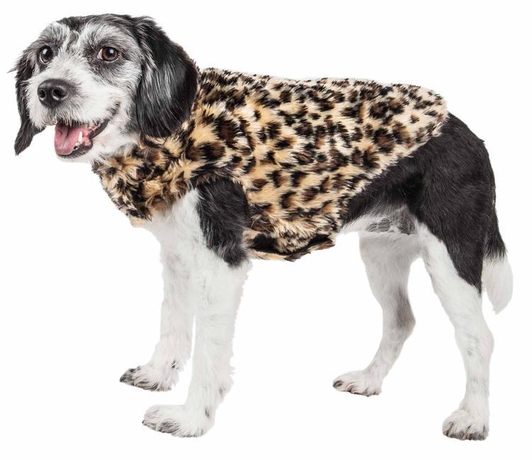 Pet Life ® Luxe 'Poocheetah' Ravishing Designer Spotted Cheetah Patterned Mink Fur Dog Coat Jacket