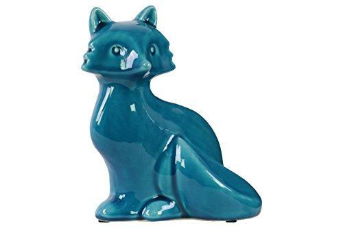 UTC43023 Ceramic Sitting Fox Figurine with Tail Folded Towards Body Gloss Finish Blue