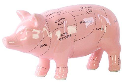 UTC43044 Ceramic Pork Cut Chart Figurine Coated Finish Pink