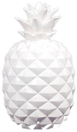 UTC43048 Ceramic Pineapple Figurine LG Gloss Finish White