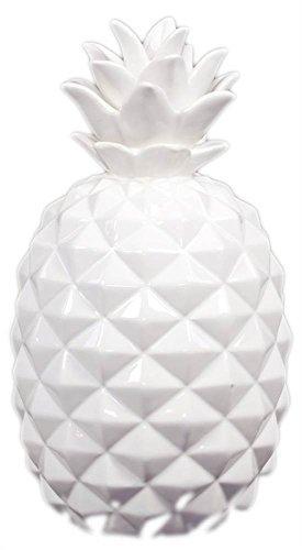 UTC43049 Ceramic Pineapple Figurine SM Gloss Finish White