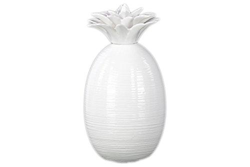 UTC43063 Ceramic Pineapple Figurine LG Gloss Finish White