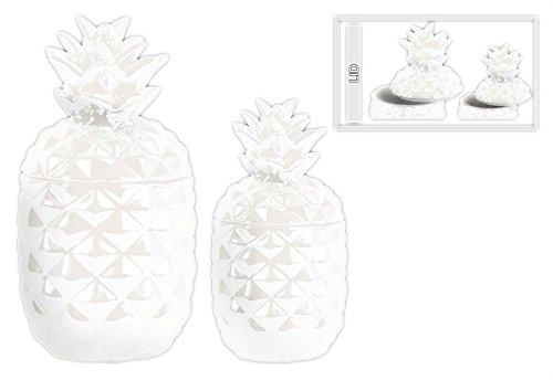 UTC43156 Ceramic Pineapple Canister Set of Two Gloss Finish White