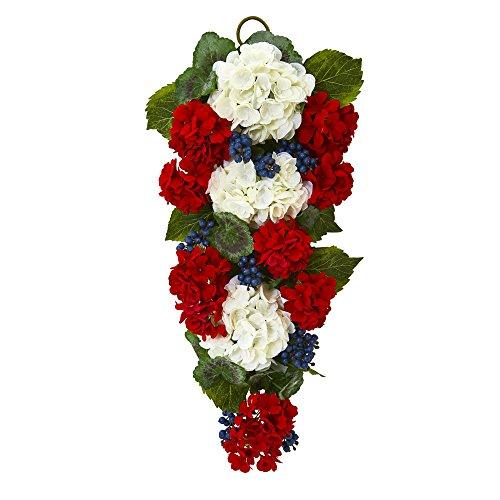 26 In. Geranium and Blue Berry Artificial Teardrop [Item # 4325B]