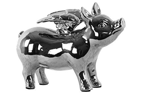 UTC43310 Ceramic Standing Pig Figurine with Wings Polished Chrome Finish Gold