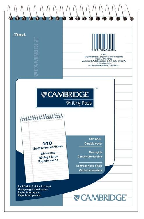 43848 Notebook 6X9 Wht 140Ct