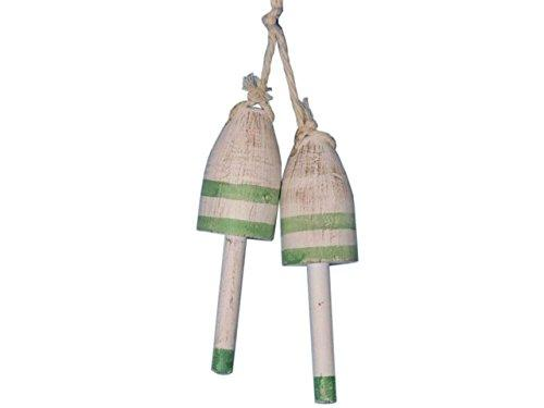 Set of 2 - Wooden Vintage Green Decorative Maine Lobster Trap Buoy 7''