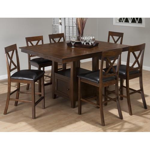 Oslen Casual Counter Height Pedestal Table Set