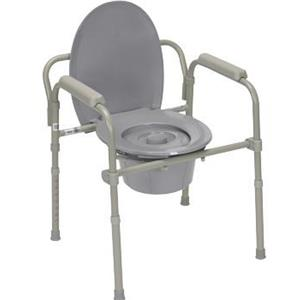 Commode with fixed arms, steel, adjustable height, x-wide bariatric, 1 each
