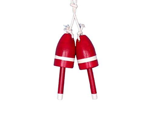 Set of 2 - Wooden Red Decorative Maine Lobster Trap Buoy 7''