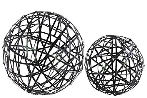 UTC44105 Metal Nesting Mesh Ball Decor Set of Two Coated Finish Black
