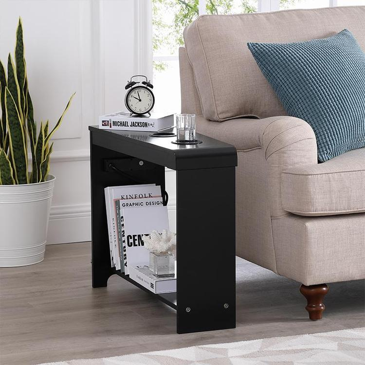 Naomi Home Jade Chairside Table with USB Ports & Outlets [Item # 44611B]