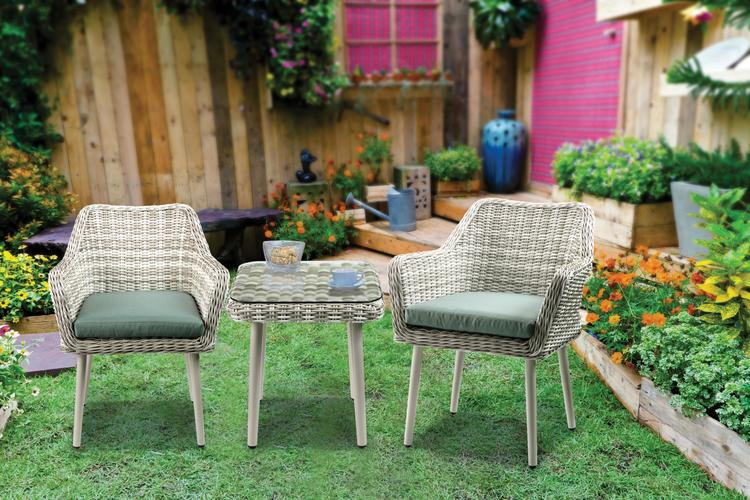 ACME Tashay 3Pc Patio Bistro Set, Green Fabric & Beige Wicker