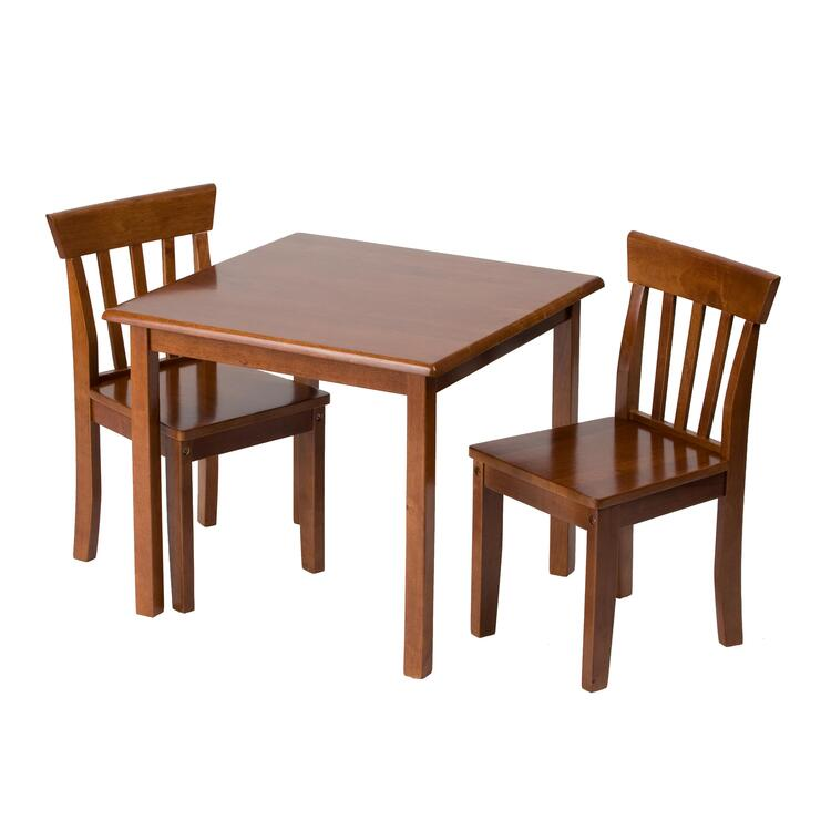 Natural Hardwood Stained Square Table and Chair Set