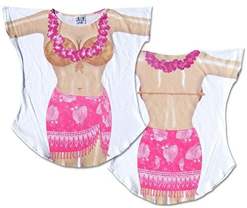 Hot Pink Sarong Fantasy Swimsuit Coverup T-Shirt Plus Size