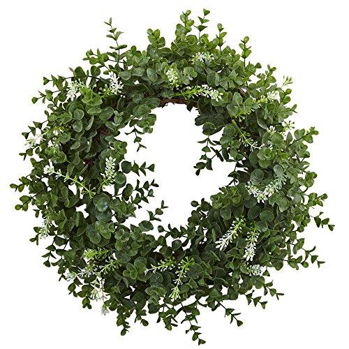 Nearly Natural 18? Eucalyptus Double Ring Wreath w/Twig Base