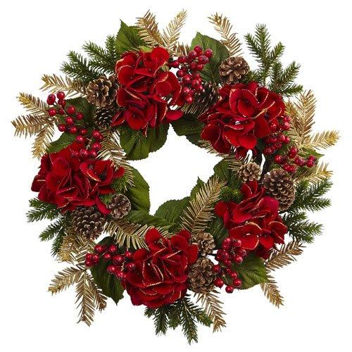 Nearly Natural 24? Hydrangea Pine Wreath