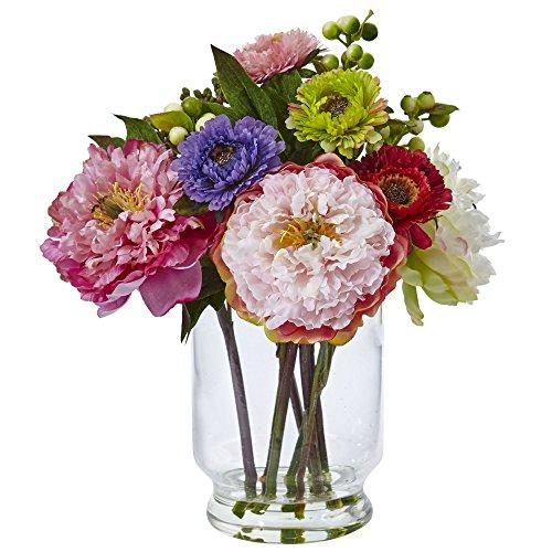 Peony and Mum in Glass Vase [Item # 4586D]