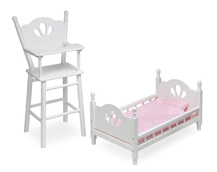Badger Basket English Country Doll High Chair and Bed Set with Chevron Bedding - White/Pink