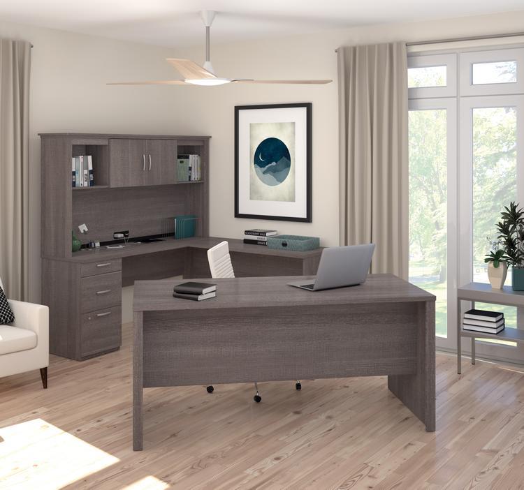 Bestar Logan U-Shaped Desk in Bark Gray