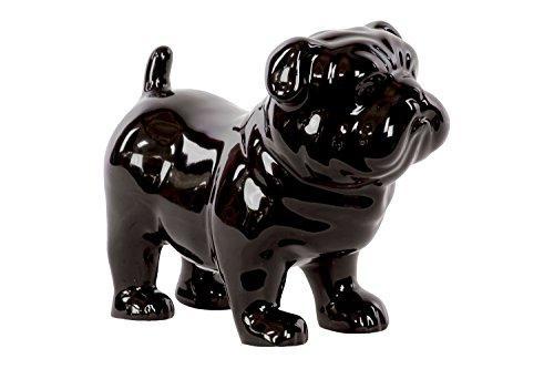 UTC46705 Ceramic Standing British Bulldog Figurine Gloss Finish Black