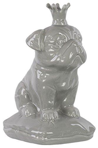 UTC46719 Ceramic Sitting British Bulldog Figurine with 5 Spiked Crown on Cushion Base Gloss Finish Gray