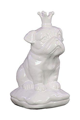 UTC46724 Ceramic Sitting British Bulldog Figurine with 5 Spiked Crown on Cushion Base Gloss Finish White