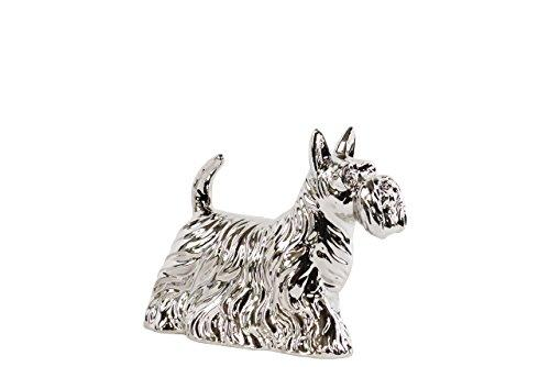 UTC46882 Ceramic Standing Scottish Terrier Dog Figurine SM Polished Chrome Finish Silver
