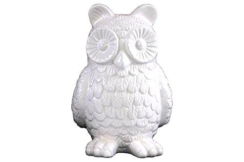 UTC46918 Ceramic Standing Owl Figurine Gloss Finish White