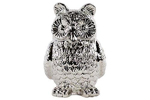UTC46919 Ceramic Standing Owl Figurine Polished Chrome Finish Silver