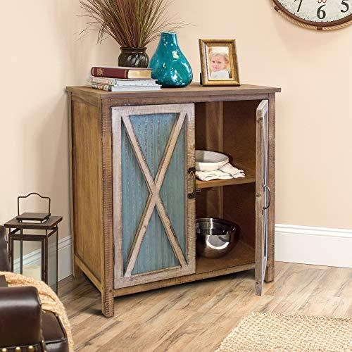 American Furniture Classics OS Home and Office Furniture Model 75138 Rustic, Weathered, Metal Corrugated Two Door Storage Cabinet with Three Shelves