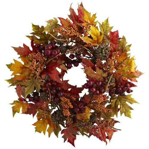Nearly Natural 24? Maple and Berry Wreath