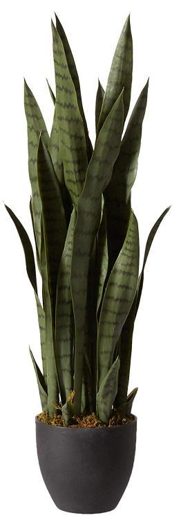 Nearly Natural Sansevieria w/Black Planter [Item # 4855A]