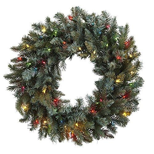 Nearly Natural 30? Pine Wreath w/Colored Lights