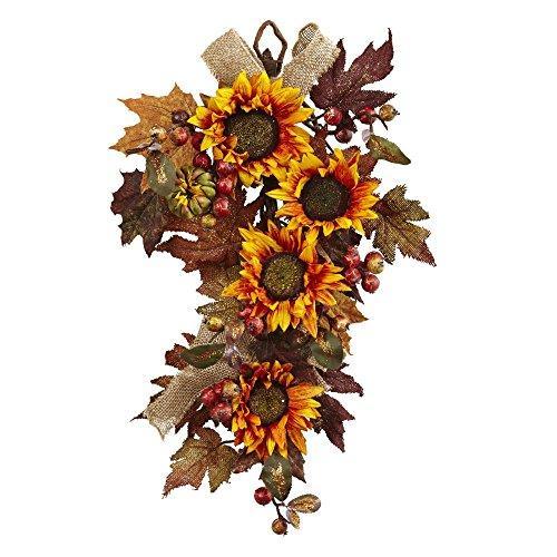 Nearly Natural 24? Sunflower & Berry Teardrop