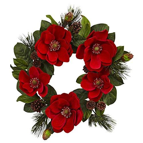 24? Red Magnolia & Pine Wreath