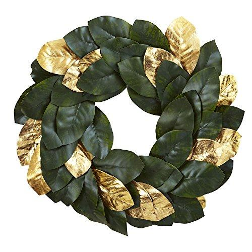 Nearly Natural 22? Golden Leaf Magnolia Wreath