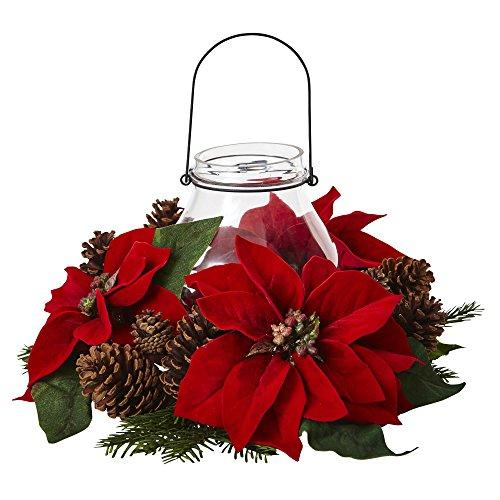 Nearly Natural Poinsettia Pine & Pine Cone Candelabrum