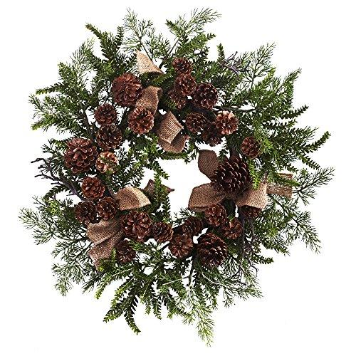 Nearly Natural 24? Pine & Pine Cone Wreath w/Burlap Bows