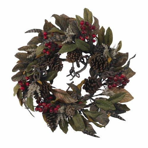 Nearly Natural 24? Pinecone, Berry & Feather Wreath