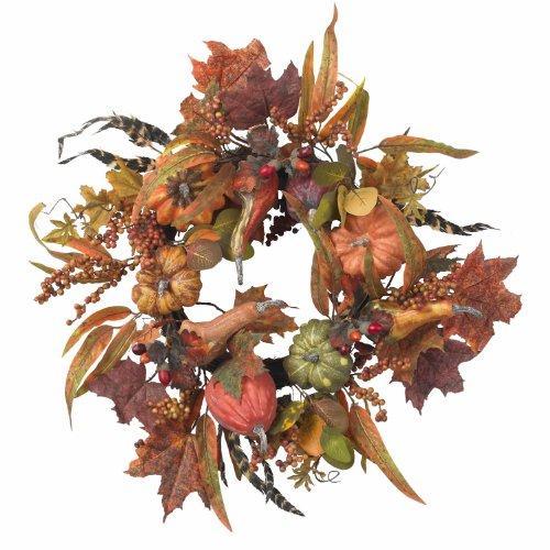 Nearly Natural 24? Pumpkin & Berry Wreath