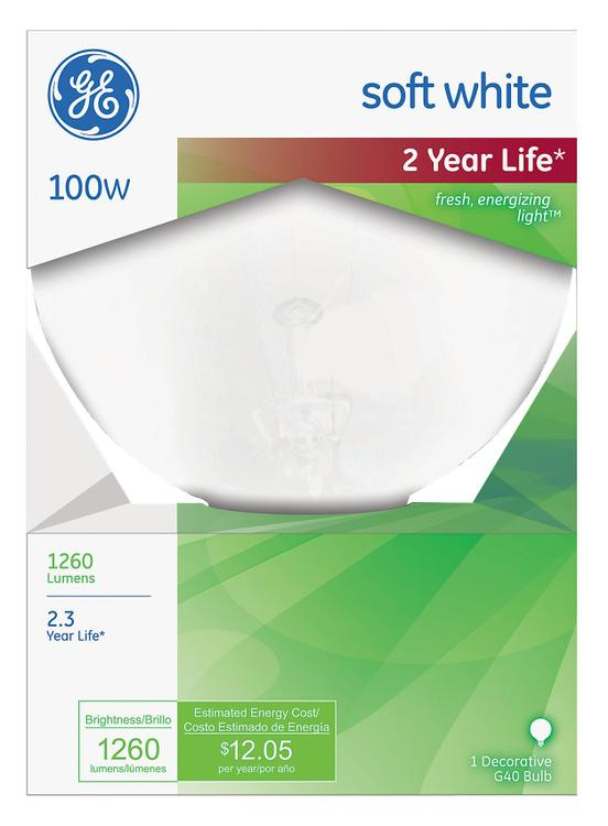 GE Lighting 49781 100 Watt Vanity Globe Light Bulbs White