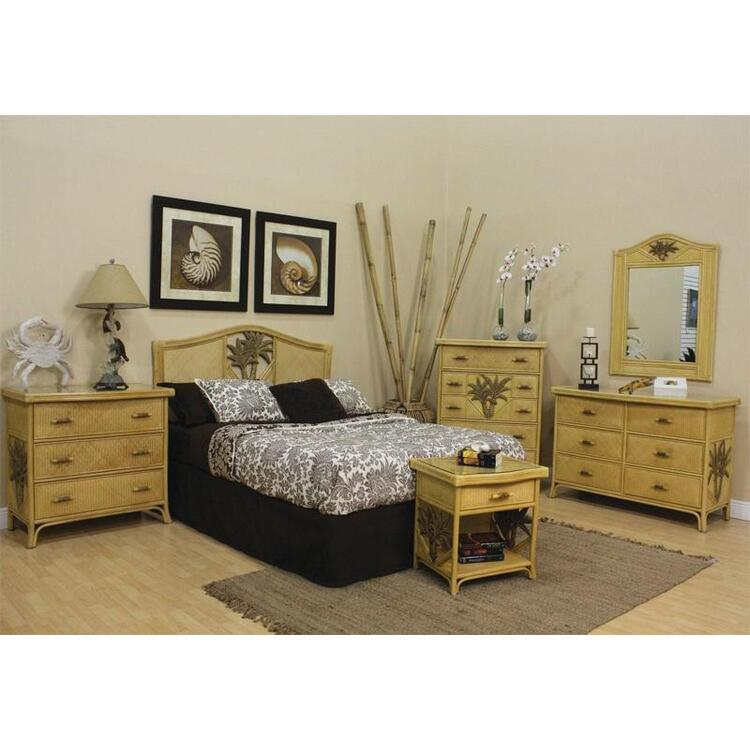Cancun Palm 4 Piece Bedroom Set, Finish Natural, Size King