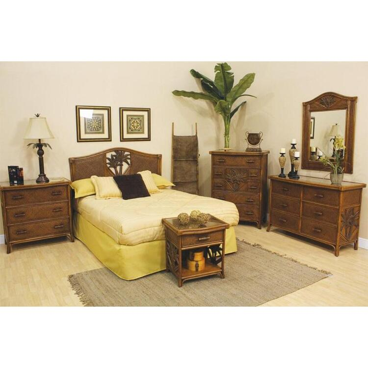Cancun Palm 4 Piece Bedroom Set, Finish TC Antique, Size Queen