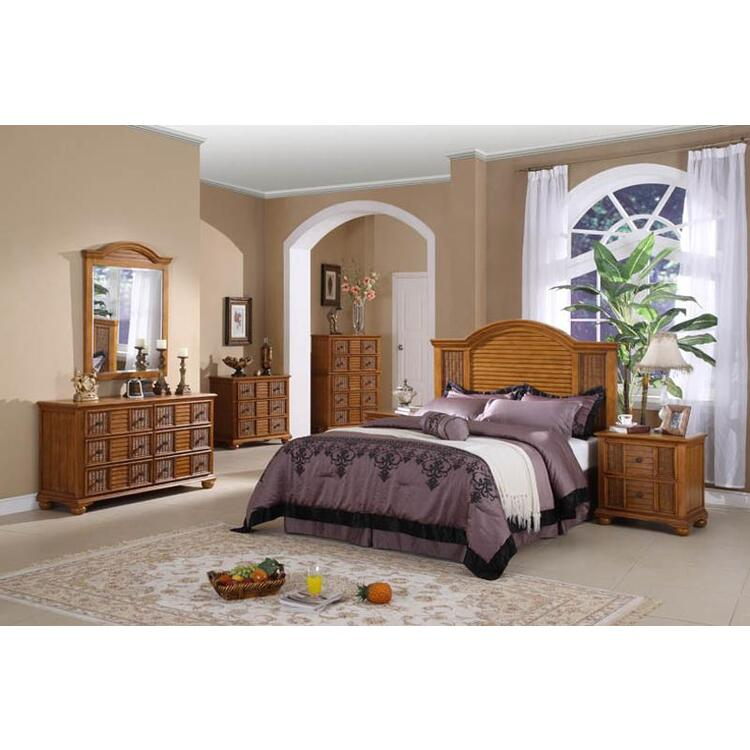 Ships Wheel Bedroom Set, Finish Light Brown, Size King