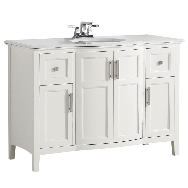 Simpli Home Winston 42 inch Rounded Front Bath Vanity with Bombay White Engineered Quartz Marble Top