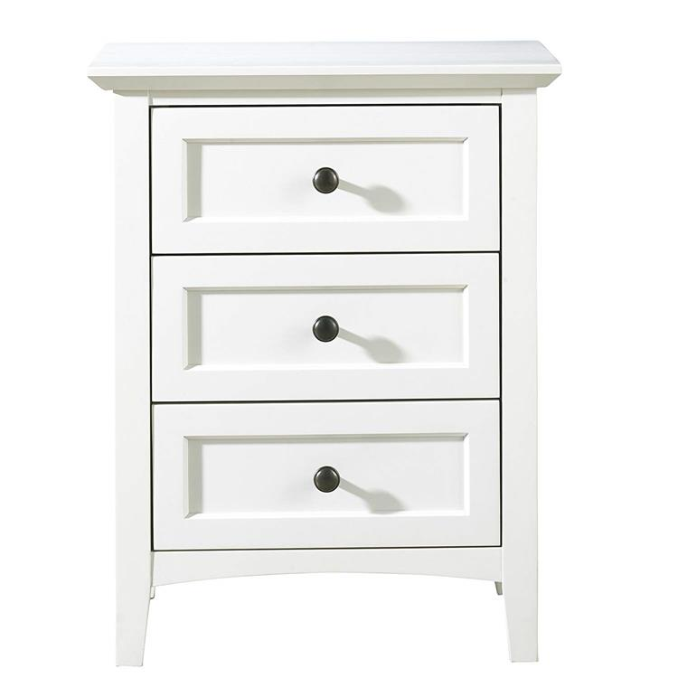 Paragon Three Drawer Nightstand in White