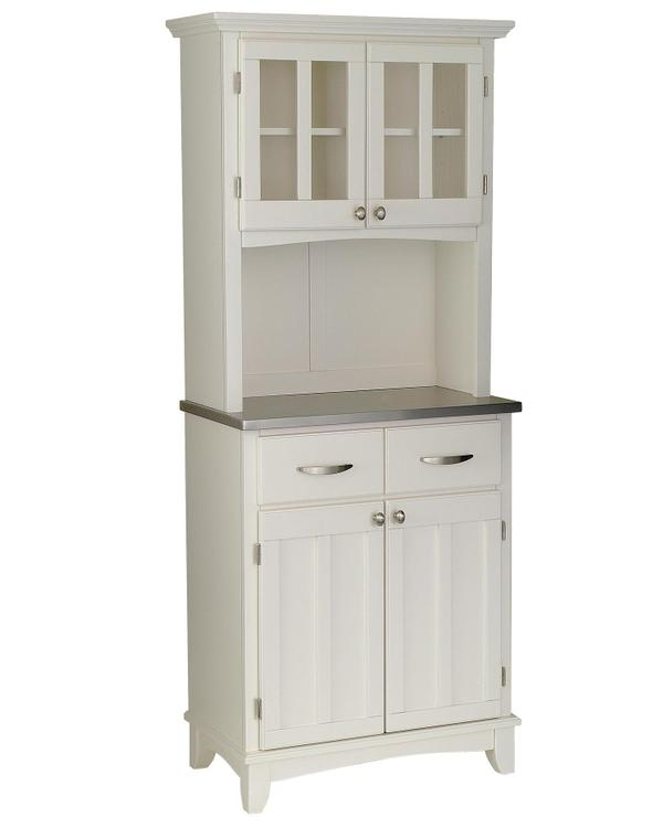 Home Styles White Server With Stainless Steel Wood Top With And Two Door Hutch